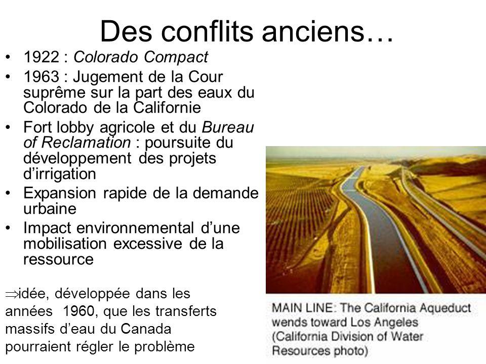 Des conflits anciens…  idée, développée dans les années 1960, que les transferts massifs d'eau du Canada pourraient régler le problème 1922 : Colorad