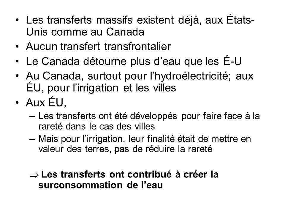 Les transferts massifs existent déjà, aux États- Unis comme au Canada Aucun transfert transfrontalier Le Canada détourne plus d'eau que les É-U Au Can