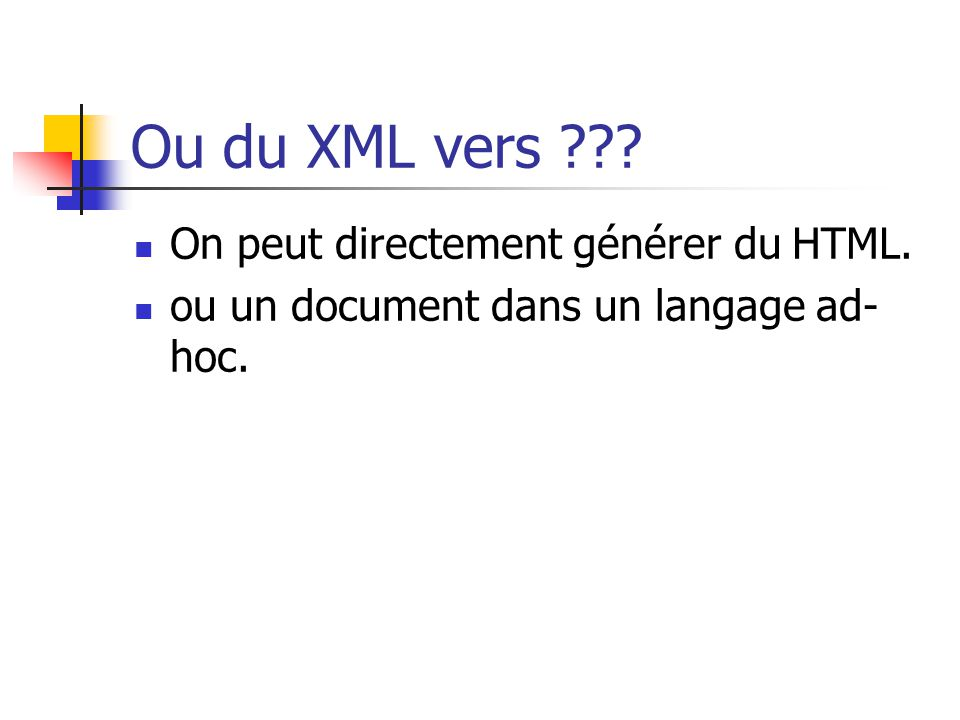 1ère étape : XML vers XML Application de règles de transformation de l arbre du document XML source : production d un arbre XML résultat, pouvant être complètement différent.