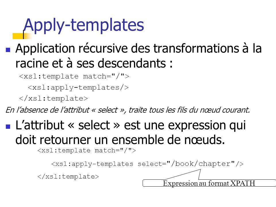 Règles de transformation Syntaxe : [actions] L élément racine indique que c est une feuille de style XSL Expression au format XPATH