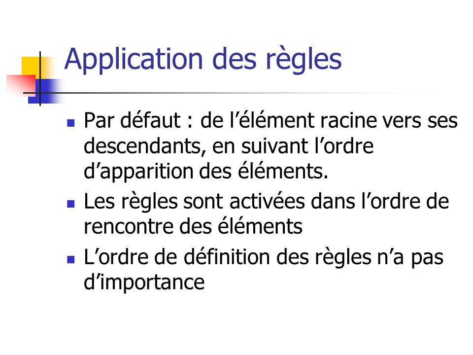 XSL : algorithme d application des règles