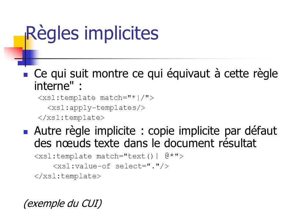 Règles implicites Citation de la spécification: Il existe une règle modèle [template] interne permettant à un traitement récursif de continuer même en cas de non-concordance de motif par une règle modèle explicite de la feuille de styles.
