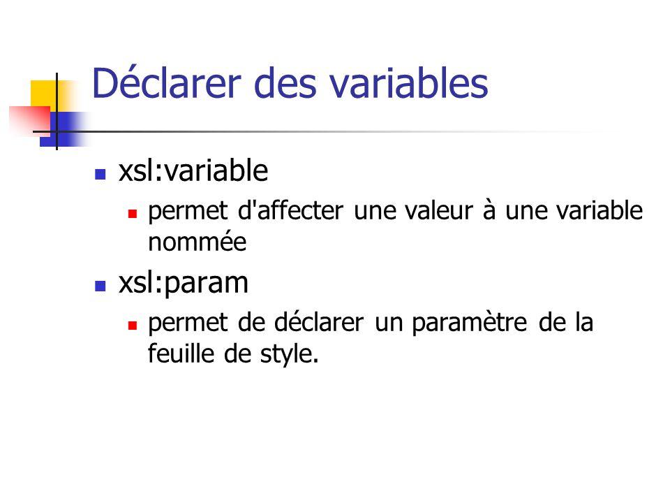 Spécifier le type de sortie xsl:output exemples : par défaut, xml, sauf si la première balise de l arbre résultat est html.