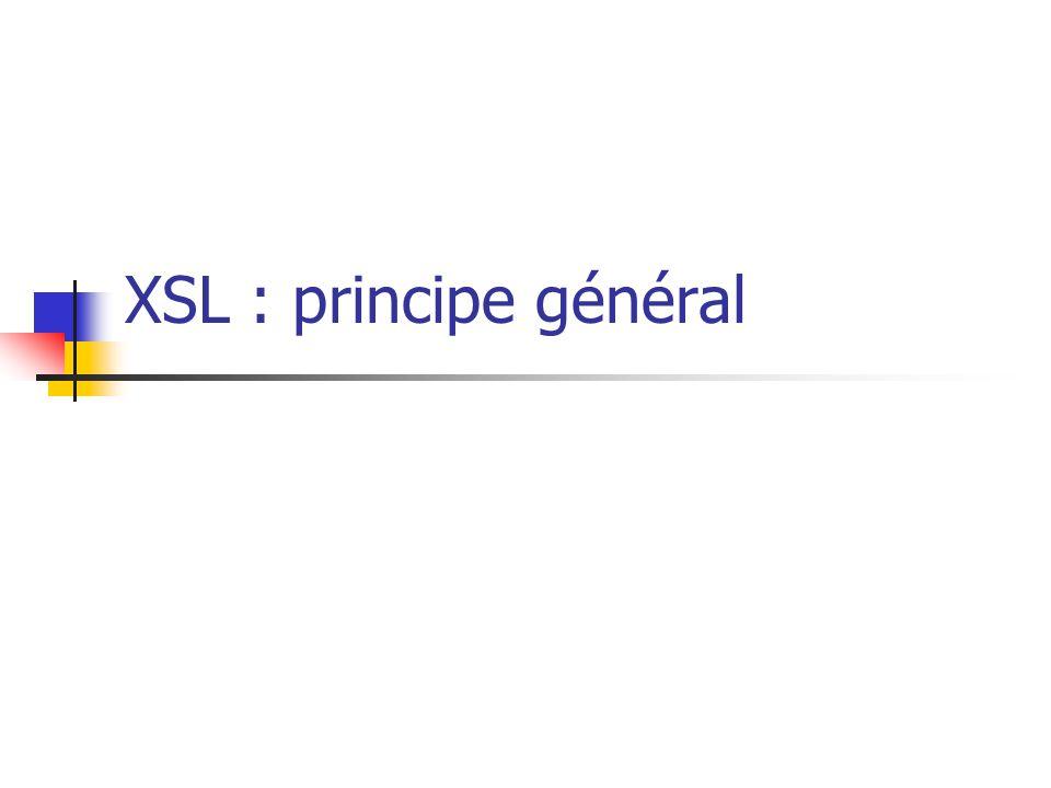 Historique 1999: XSLT 1.0 et XPATH 1.0 : versions supportées par la plupart des outils depuis février 2007 XSLT 2.0 et XPATH 2.0 : nouvelles recommandations du W3C XSLT 2.0 est plus simple et le traitement associé plus efficace