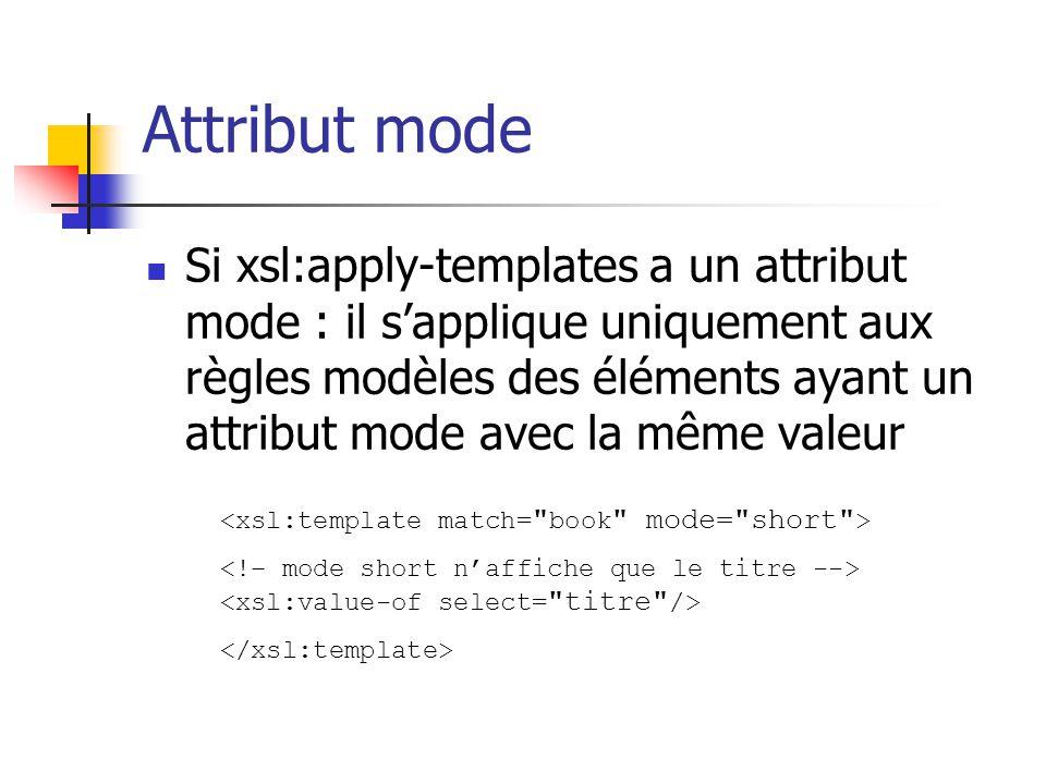 xsl:apply-templates : mode Un nœud peut être calculé plusieurs fois, de façon différente :...