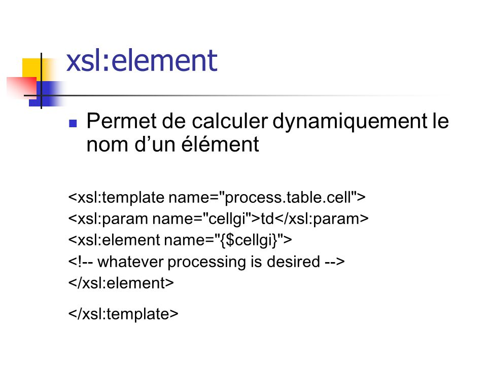 Principales fonctions xsl:element xsl:attribute xsl:number xsl:sort xsl:node …