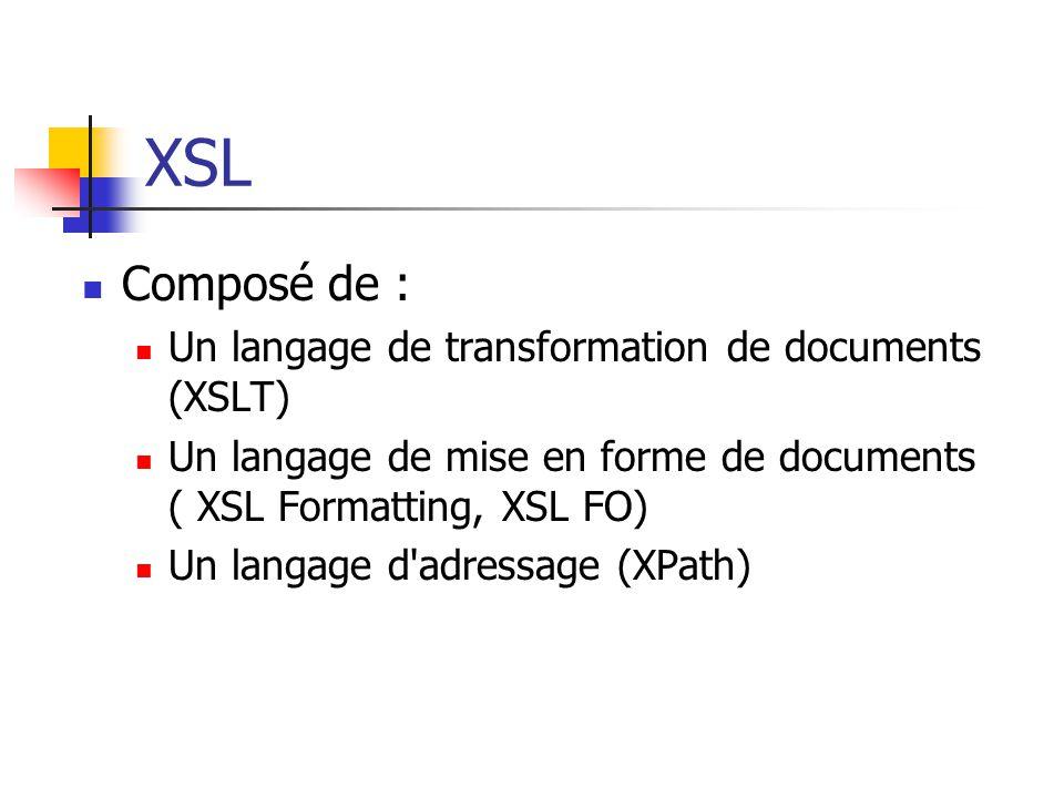 XSL Un moyen de niveau balisage qui fournit une solution déclarative à la plupart des exigences de présentation. J.C.