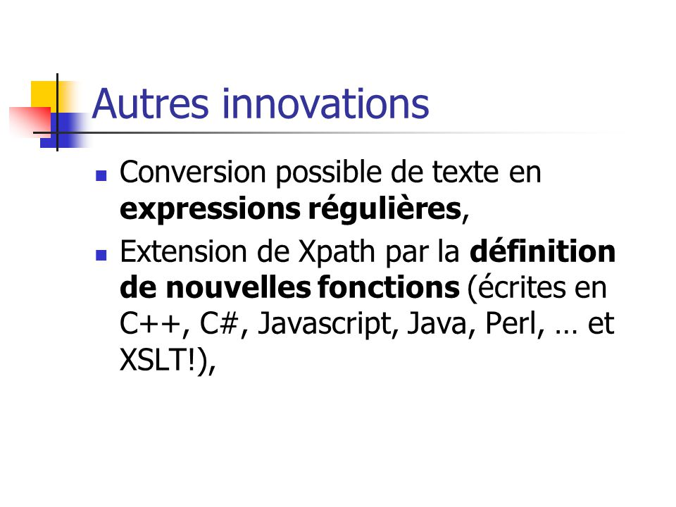 Création de fonctions An xsl:function declaration declares the name, parameters, and implementation of a stylesheet function that can be called from any XPath expression within the stylesheet. extrait de la recommandation