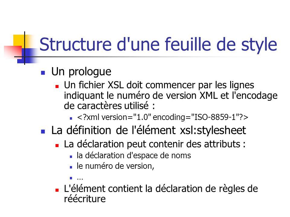 XSL Composé de : Un langage de transformation de documents (XSLT) Un langage de mise en forme de documents ( XSL Formatting, XSL FO) Un langage d adressage (XPath)