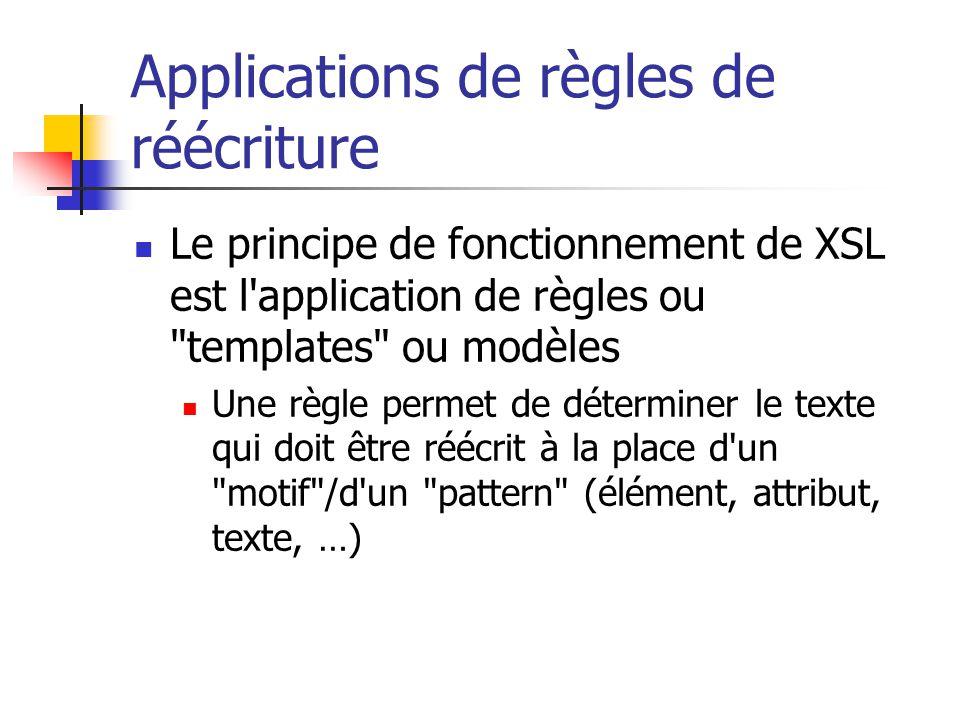 Structure d une feuille de style Un prologue Un fichier XSL doit commencer par les lignes indiquant le numéro de version XML et l encodage de caractères utilisé : La définition de l élément xsl:stylesheet La déclaration peut contenir des attributs : la déclaration d espace de noms le numéro de version, … L élément contient la déclaration de règles de réécriture