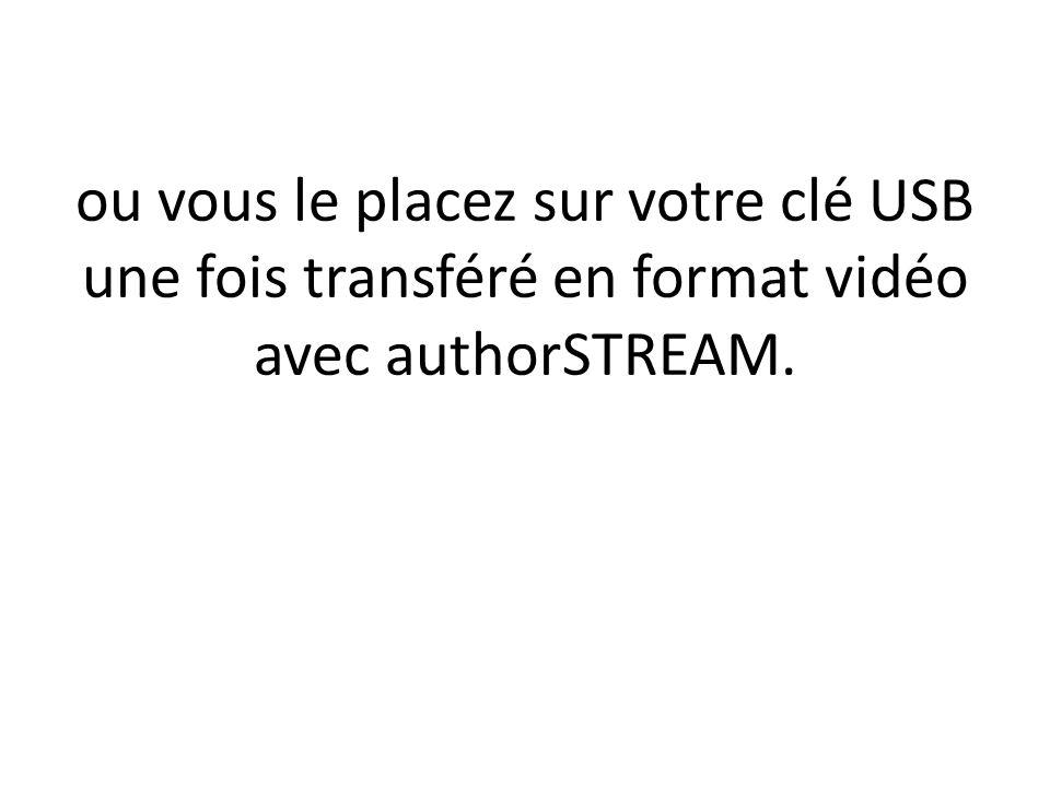 ou vous le placez sur votre clé USB une fois transféré en format vidéo avec authorSTREAM.