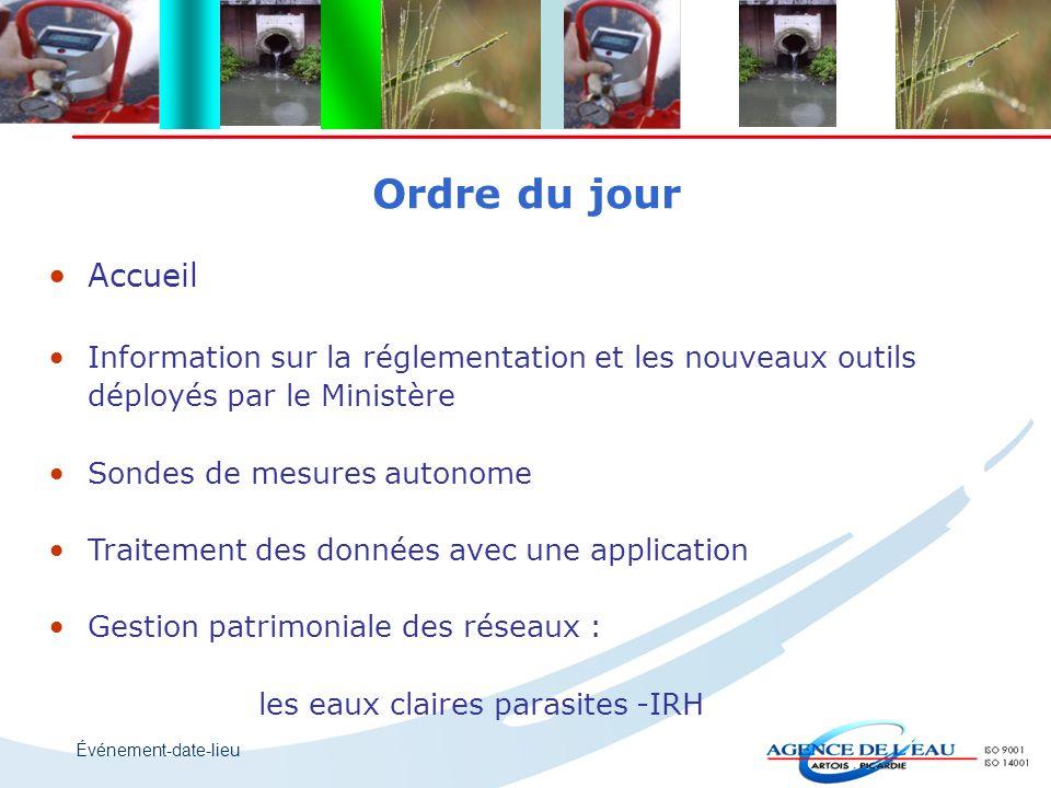 Événement-date-lieu Ordre du jour Accueil Information sur la réglementation et les nouveaux outils déployés par le Ministère Sondes de mesures autonom