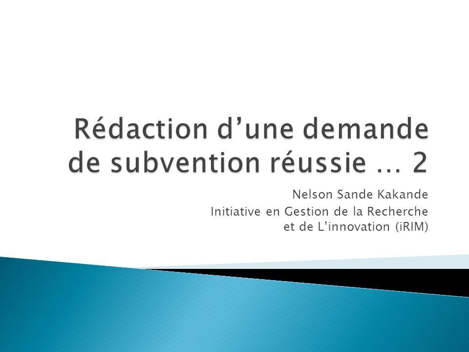 Nelson Sande Kakande Initiative en Gestion de la Recherche et de L'innovation (iRIM)