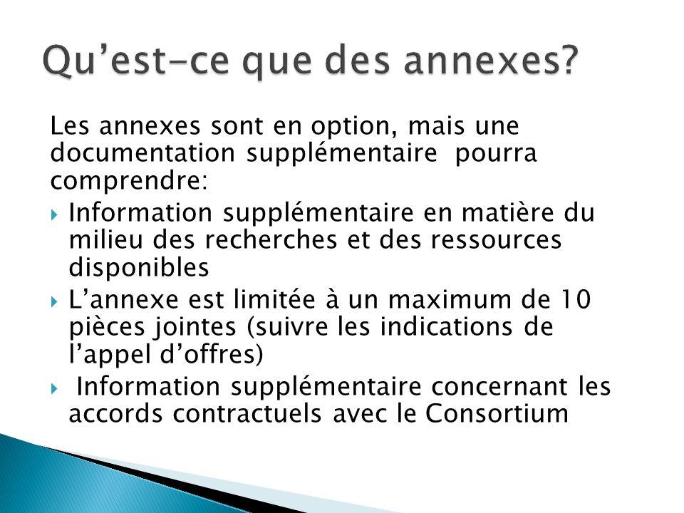Les annexes sont en option, mais une documentation supplémentaire pourra comprendre:  Information supplémentaire en matière du milieu des recherches et des ressources disponibles  L'annexe est limitée à un maximum de 10 pièces jointes (suivre les indications de l'appel d'offres)  Information supplémentaire concernant les accords contractuels avec le Consortium