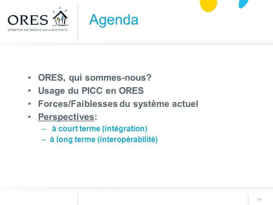 16 ORES, qui sommes-nous? Usage du PICC en ORES Forces/Faiblesses du système actuel Perspectives: – à court terme (intégration) –à long terme (interop