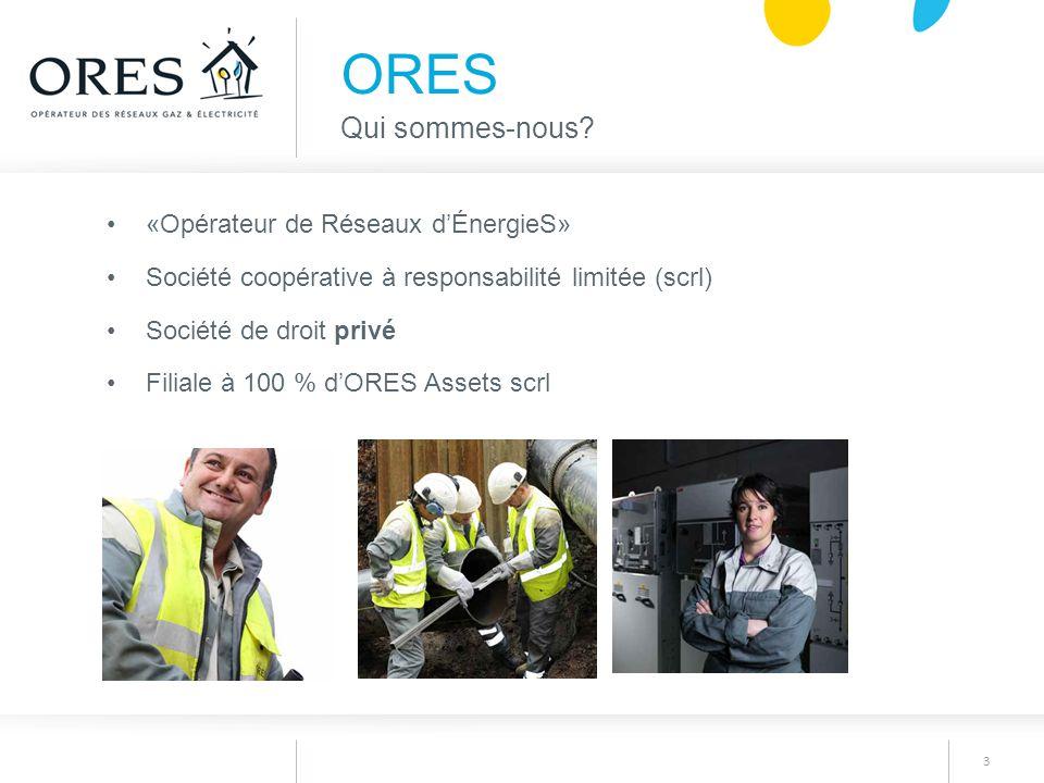3 «Opérateur de Réseaux d'ÉnergieS» Société coopérative à responsabilité limitée (scrl) Société de droit privé Filiale à 100 % d'ORES Assets scrl ORES