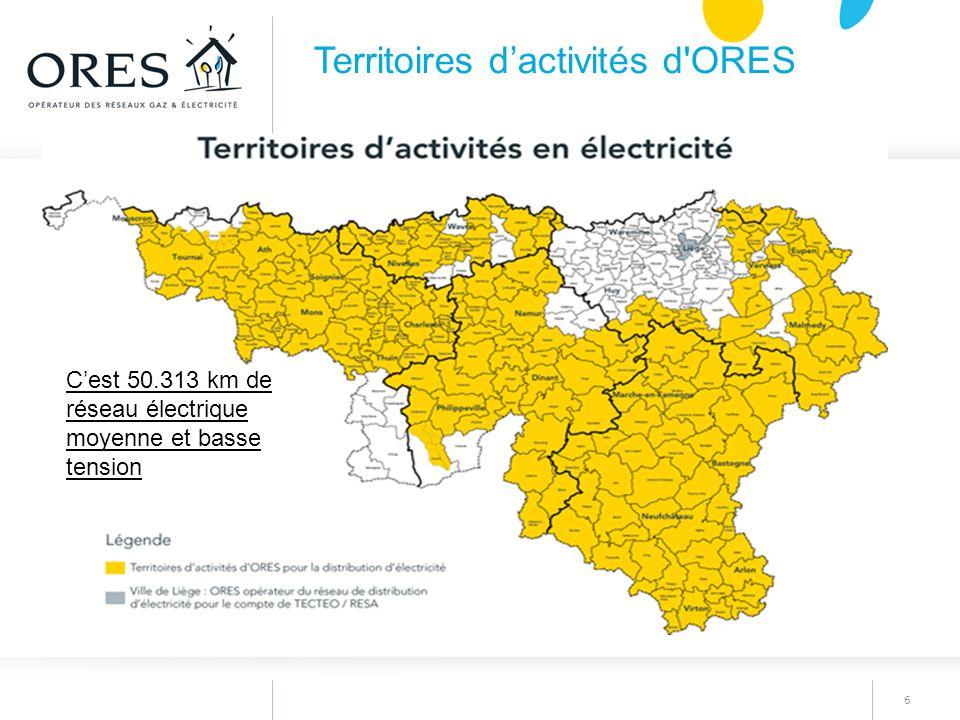 6 Territoires d'activités d'ORES C'est 50.313 km de réseau électrique moyenne et basse tension