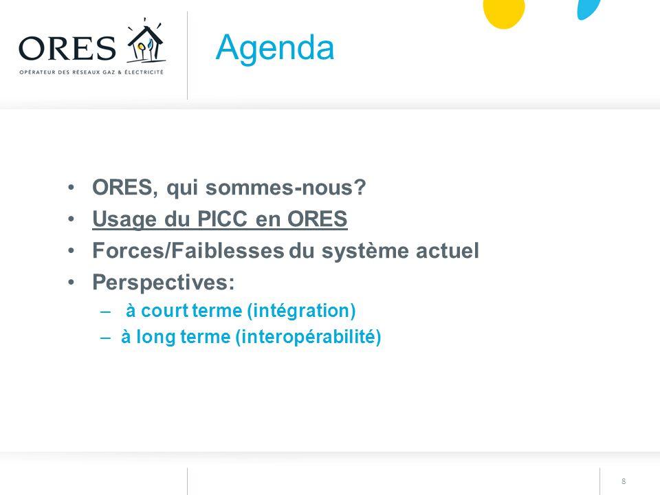 8 ORES, qui sommes-nous? Usage du PICC en ORES Forces/Faiblesses du système actuel Perspectives: – à court terme (intégration) –à long terme (interopé