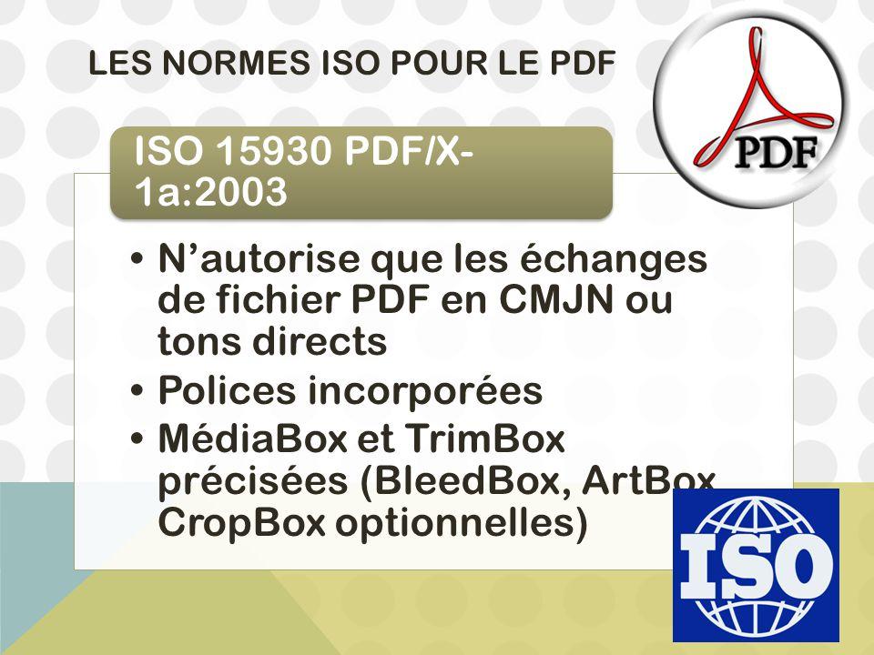 LES NORMES ISO POUR LE PDF N'autorise que les échanges de fichier PDF en CMJN ou tons directs Polices incorporées MédiaBox et TrimBox précisées (Bleed