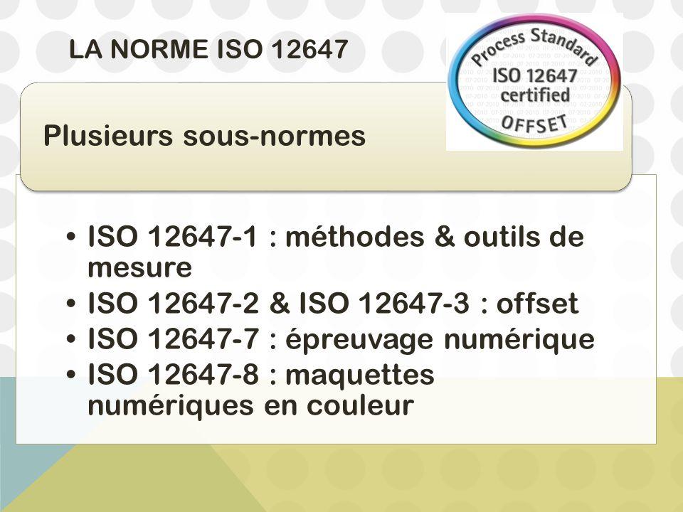 LA NORME ISO 12647 ISO 12647-1 : méthodes & outils de mesure ISO 12647-2 & ISO 12647-3 : offset ISO 12647-7 : épreuvage numérique ISO 12647-8 : maquet