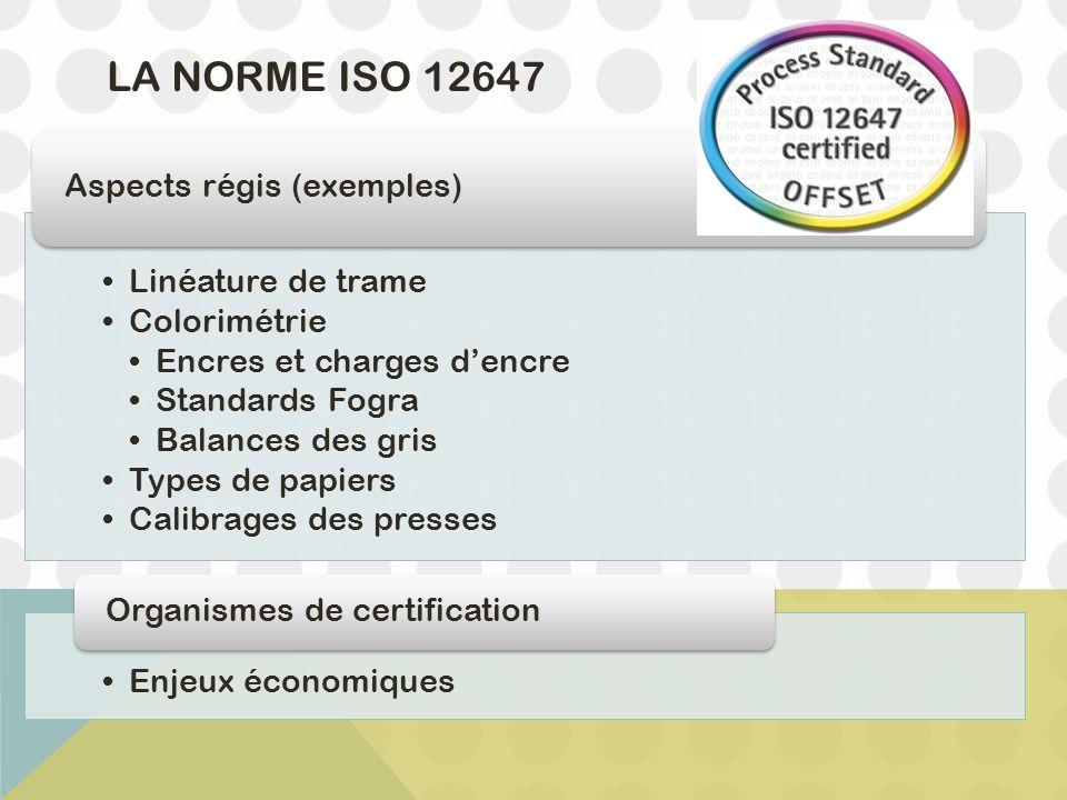 LA NORME ISO 12647 Linéature de trame Colorimétrie Encres et charges d'encre Standards Fogra Balances des gris Types de papiers Calibrages des presses