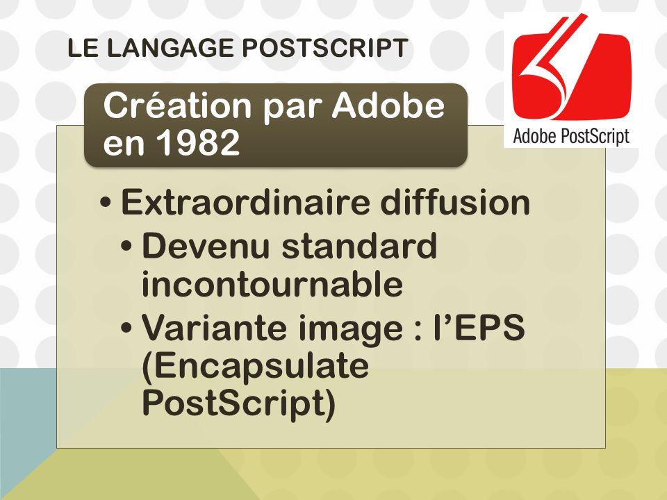 LE LANGAGE POSTSCRIPT Extraordinaire diffusion Devenu standard incontournable Variante image : l'EPS (Encapsulate PostScript) Création par Adobe en 19