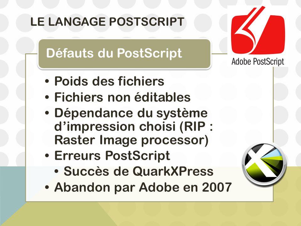 LE LANGAGE POSTSCRIPT Poids des fichiers Fichiers non éditables Dépendance du système d'impression choisi (RIP : Raster Image processor) Erreurs PostS