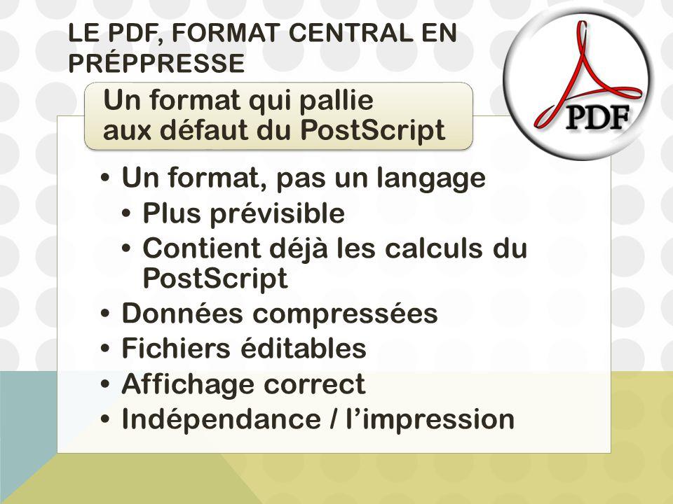 LE PDF, FORMAT CENTRAL EN PRÉPPRESSE Un format, pas un langage Plus prévisible Contient déjà les calculs du PostScript Données compressées Fichiers éd
