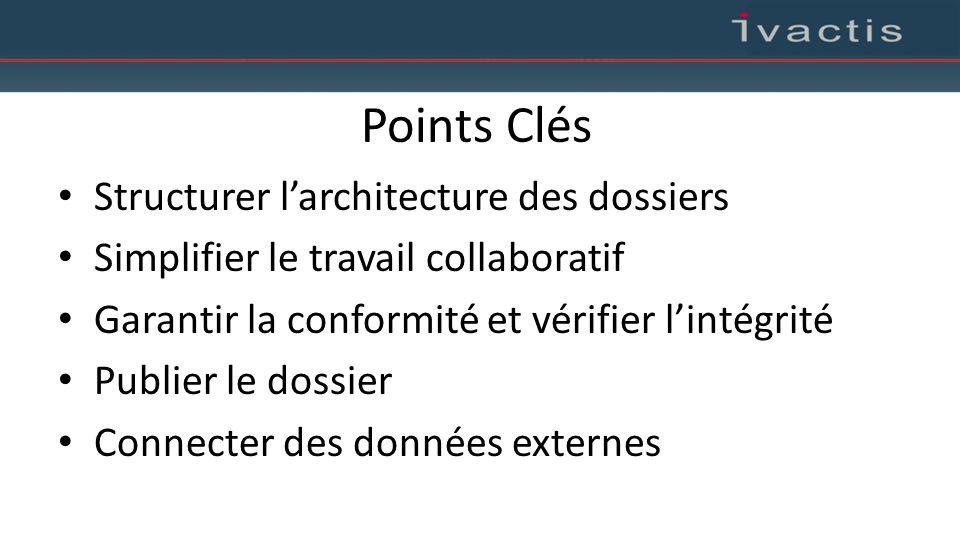 Points Clés Structurer l'architecture des dossiers Simplifier le travail collaboratif Garantir la conformité et vérifier l'intégrité Publier le dossie