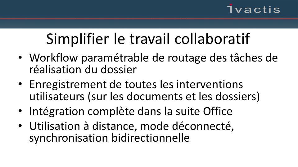 Simplifier le travail collaboratif Workflow paramétrable de routage des tâches de réalisation du dossier Enregistrement de toutes les interventions ut
