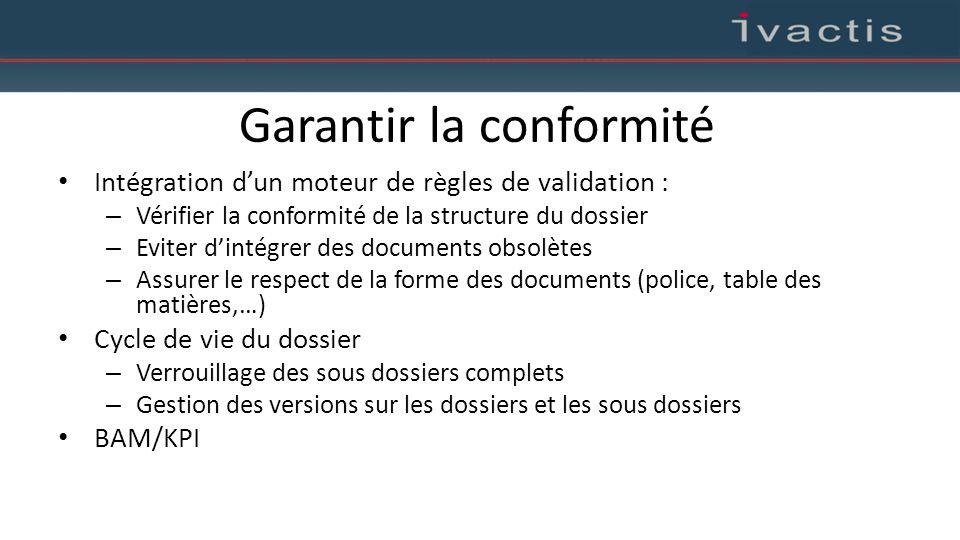 Garantir la conformité Intégration d'un moteur de règles de validation : – Vérifier la conformité de la structure du dossier – Eviter d'intégrer des d