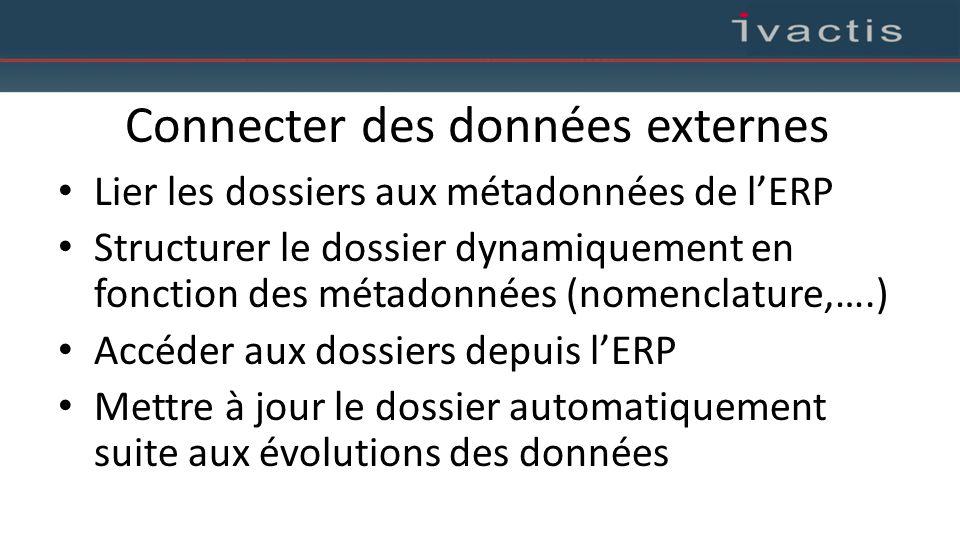 Connecter des données externes Lier les dossiers aux métadonnées de l'ERP Structurer le dossier dynamiquement en fonction des métadonnées (nomenclatur
