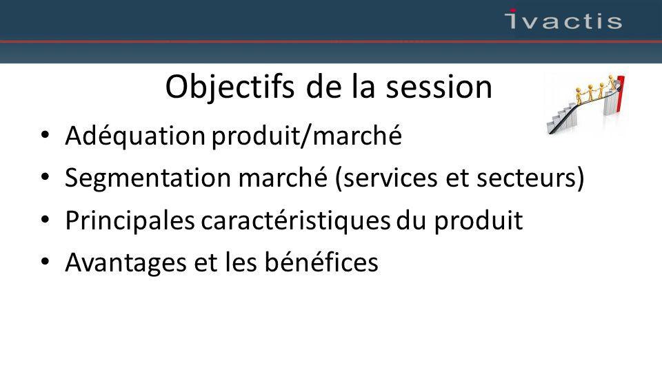 Objectifs de la session Adéquation produit/marché Segmentation marché (services et secteurs) Principales caractéristiques du produit Avantages et les