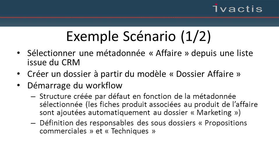 Exemple Scénario (1/2) Sélectionner une métadonnée « Affaire » depuis une liste issue du CRM Créer un dossier à partir du modèle « Dossier Affaire » D