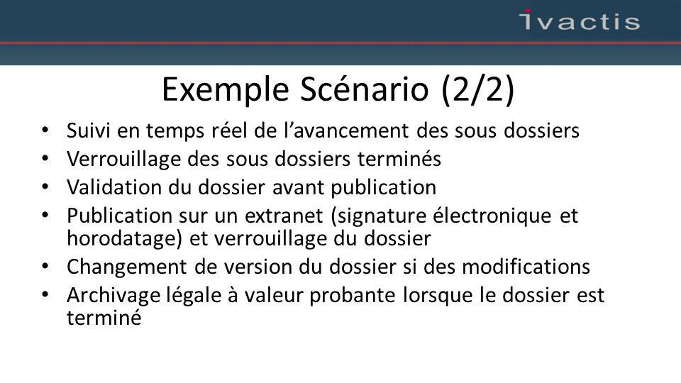 Exemple Scénario (2/2) Suivi en temps réel de l'avancement des sous dossiers Verrouillage des sous dossiers terminés Validation du dossier avant publi
