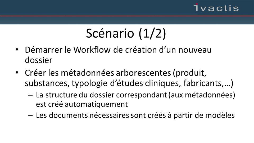 Scénario (1/2) Démarrer le Workflow de création d'un nouveau dossier Créer les métadonnées arborescentes (produit, substances, typologie d'études clin
