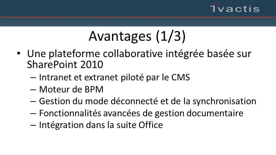 Avantages (1/3) Une plateforme collaborative intégrée basée sur SharePoint 2010 – Intranet et extranet piloté par le CMS – Moteur de BPM – Gestion du