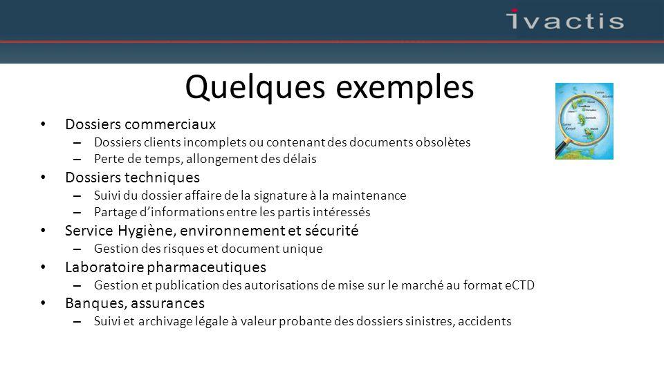 Quelques exemples Dossiers commerciaux – Dossiers clients incomplets ou contenant des documents obsolètes – Perte de temps, allongement des délais Dos