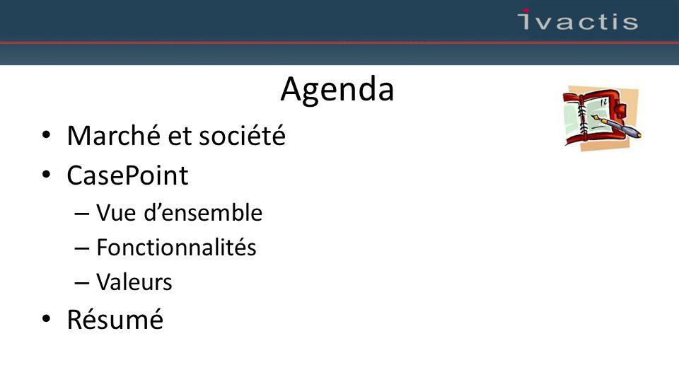Agenda Marché et société CasePoint – Vue d'ensemble – Fonctionnalités – Valeurs Résumé
