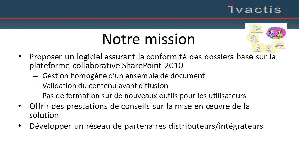 Notre mission Proposer un logiciel assurant la conformité des dossiers basé sur la plateforme collaborative SharePoint 2010 – Gestion homogène d'un en