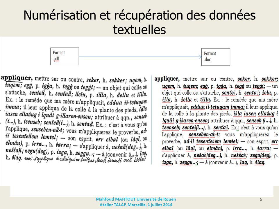 Structuration des données Codage du document textuel en XML Codage automatique – Spécification typographique Vedettes (Bookman Old Style, gras, 14) Marques d'usage (h.
