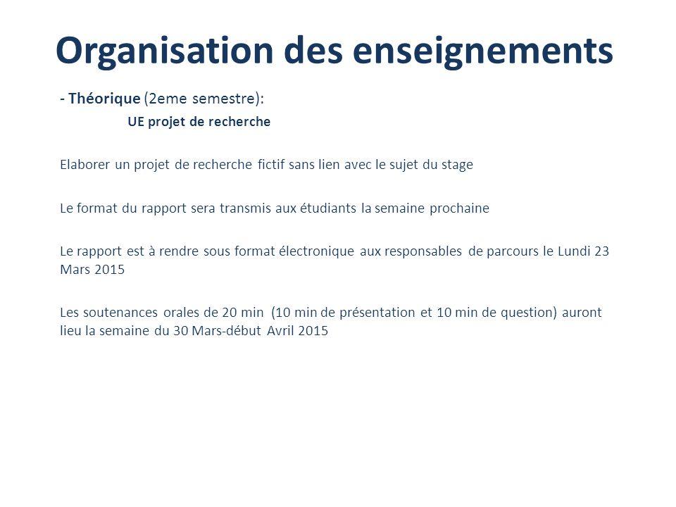 Organisation des enseignements - Théorique (2eme semestre): UE projet de recherche Elaborer un projet de recherche fictif sans lien avec le sujet du s