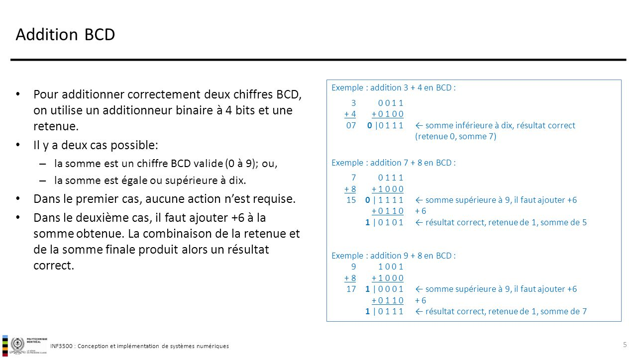 INF3500 : Conception et implémentation de systèmes numériques Addition BCD Pour additionner correctement deux chiffres BCD, on utilise un additionneur binaire à 4 bits et une retenue.