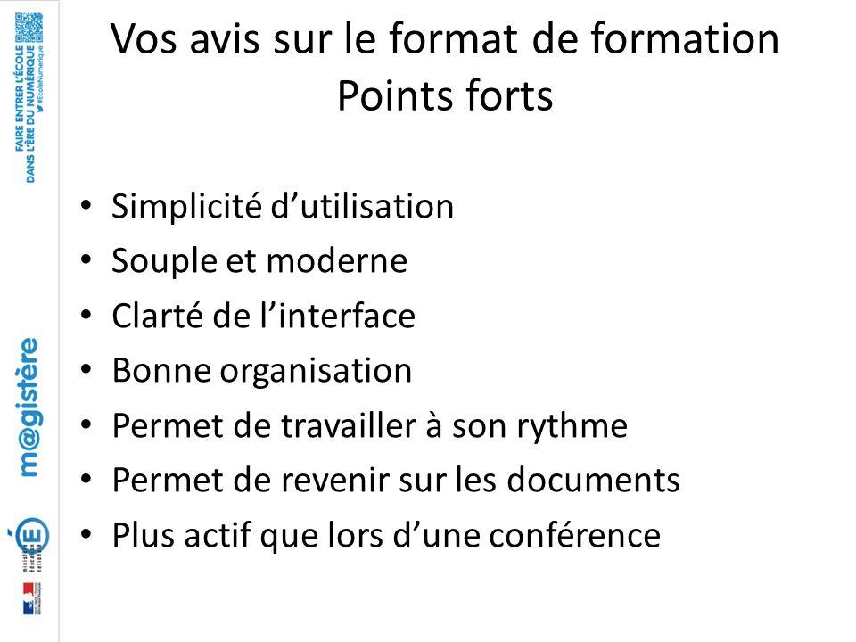 Vos avis sur le format de formation Points forts Simplicité d'utilisation Souple et moderne Clarté de l'interface Bonne organisation Permet de travail