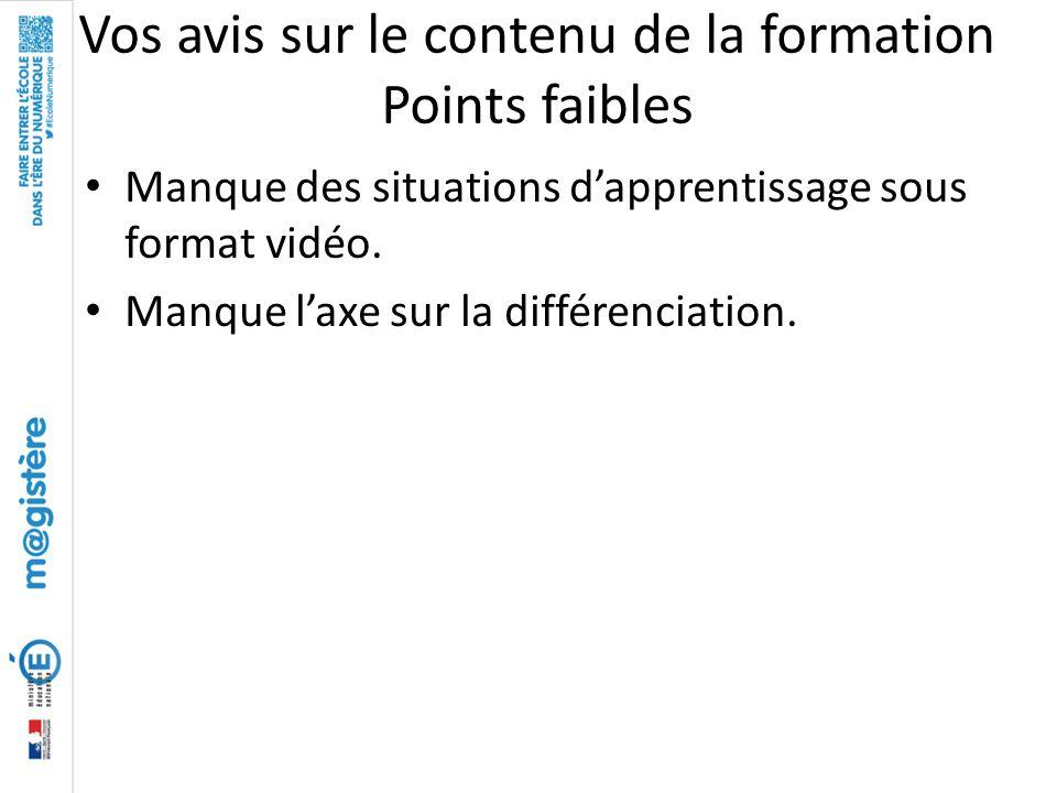 Vos avis sur le contenu de la formation Points faibles Manque des situations d'apprentissage sous format vidéo. Manque l'axe sur la différenciation.