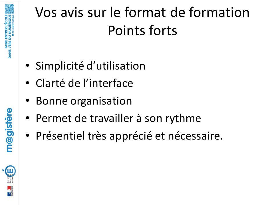Vos avis sur le format de formation Points forts Simplicité d'utilisation Clarté de l'interface Bonne organisation Permet de travailler à son rythme P