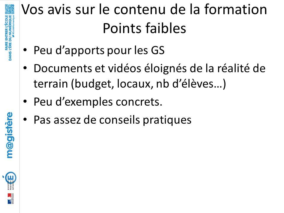 Vos avis sur le contenu de la formation Points faibles Peu d'apports pour les GS Documents et vidéos éloignés de la réalité de terrain (budget, locaux
