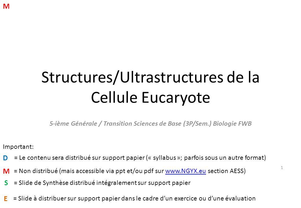 Structures/Ultrastructures de la Cellule Eucaryote 5-ième Générale / Transition Sciences de Base (3P/Sem.) Biologie FWB D M Important: = Le contenu sera distribué sur support papier (« syllabus »; parfois sous un autre format) = Non distribué (mais accessible via ppt et/ou pdf sur www.NGYX.eu section AESS)www.NGYX.eu M 1 S = Slide de Synthèse distribué intégralement sur support papier E = Slide à distribuer sur support papier dans le cadre d'un exercice ou d'une évaluation