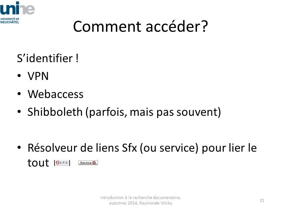 Comment accéder? S'identifier ! VPN Webaccess Shibboleth (parfois, mais pas souvent) Résolveur de liens Sfx (ou service) pour lier le tout Introductio