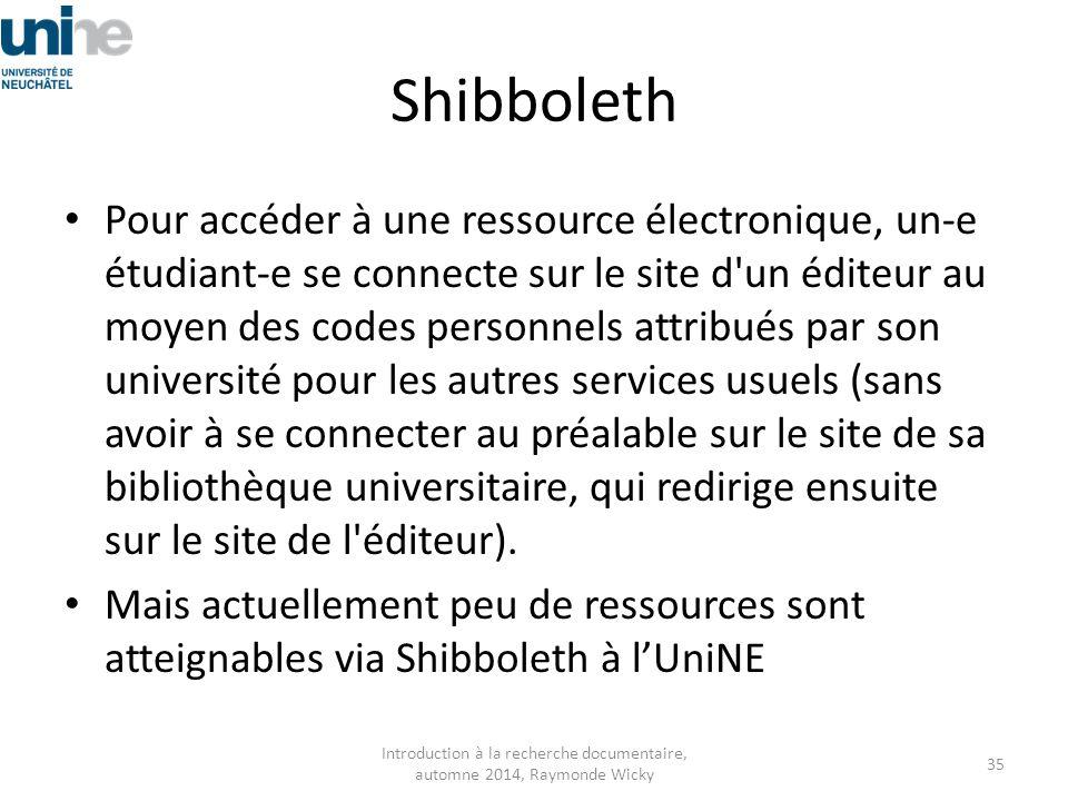 Shibboleth Pour accéder à une ressource électronique, un-e étudiant-e se connecte sur le site d'un éditeur au moyen des codes personnels attribués par